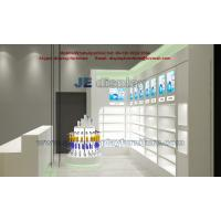 Pharmacy Wall Display cabinet with Glass Shelves for Store Furniture in Led light with Wooden Counters