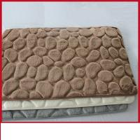 Cheap Waterproof 3D Bathroom Floor Mats , Polyester PVC Brown Memory Foam Toilet Rug  for sale