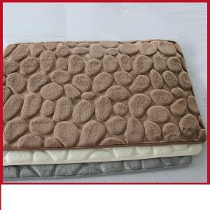 China Waterproof 3D Bathroom Floor Mats, Polyester PVC Brown Memory Foam Toilet Rug on sale