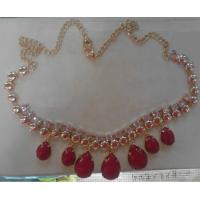Cheap CUSTOM Red rhinestone handmade necklace with gold chain and lobster clips for sale