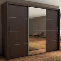Interior mirror sliding door wardrobe cabinet black for Bedroom wall cabinet with mirror
