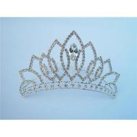China Silvery bridal wedding crown with crystal & diamond   C-21 on sale