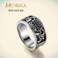 morsca sterling 925 engraved silver ring with cz of morsca