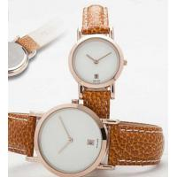 Cheap Mineral Glass Calendar Dial Leather Band Quartz Watch Gift for New Couple for sale