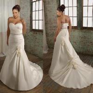 China Strapless Mermaid Satin Plus Size Bridal Dress Bride (PS0031) on sale