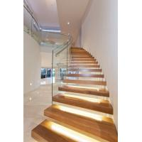 Cheap Clear glass railing floating stair with Led light for sale