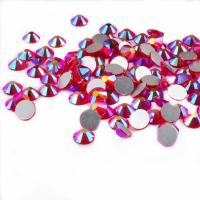 Cheap 14 Facets Flat Back Rhinestone Beads Non Hot Fix Glass Material Round Shape for sale