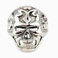 China OEM sliver color High hand polish mens Stainless Steel Gothic Biker Rings for Gift on sale