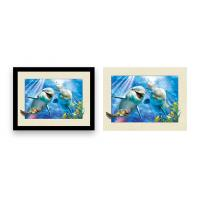 Cheap Home Decoration 3D Lenticular Printing Service 12x16 Inch Framed Dolphin Picture Wall Arts for sale