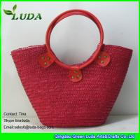 Cheap red color wheat straw totes handbags for women for sale