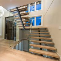 Cheap Contemporary floating staircase with wood tread invisible stringer straight stairs for sale