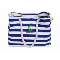Cheap Large Capacity Canvas Striped Bag , Heavy Duty Ladies Beach Bag OEM Accepted for sale