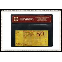 China 50 EURO Gold Foil 2 sided Euro 24K Gold Banknote With PVC Stand 20g / pc on sale