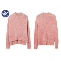 Cheap Wool Mohair Melange Womens Knit Pullover Sweater High-Low Side Slit Winter Jumper for sale