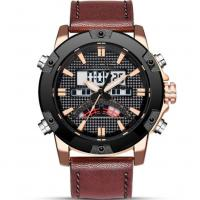 Cheap leather strap analog digital dual display waterproof 30m  sports watches for men for sale