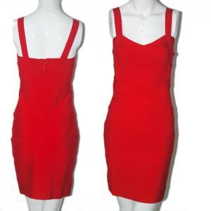 China cheap wholesale celebrity ladies spaghetti strap red short bodycon bandage dress on sale