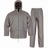 Cheap PU Rainwear for Adults, Waterproof 3,000mm, Jacket and Pants for sale