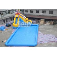 Cheap CE Certificate Inflatable Water Park , Inflatable Pool With Piranha Slide for sale