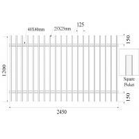 Cheap Square picket 25mm x 25mm 2 rail 40mmx40mm x 1.5mm H1200mmXW2450mm Hercules Fence for sale