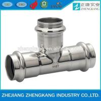 China Equal Tee Type Stainless Steel Press Fittings Durable Groove Connection on sale