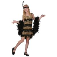 Cheap 20s Costumes Teen Girl Halloween Costumes Child Gold and Black Fringe Flapper Costume for sale