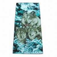 Cheap 100% Cotton Beach Towel with Velour Reactive Print, OEM Orders are Welcome for sale