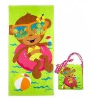 Cheap Kids Cotton Beach Towels Accessories , Yellow Beach Bag With Winnie The Pooh Figure for sale