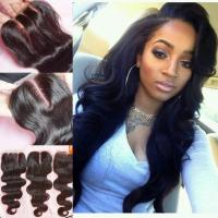 Buy cheap 7A Brazilian Body Wave Closure 1B 4x4 Swiss Lace Closure Bleached Knots from wholesalers