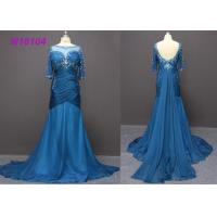 Cheap Fashion Navy Blue Bead Mermaid Mother Of The Bride Dresses OEM / ODM Design for sale