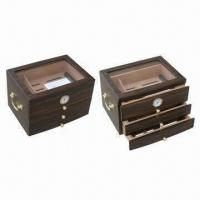 China 3-drawer Cigar Humidor, Comes in Walnut Color on sale