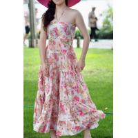 Cheap Party Backless Evening Dresses , Summer Print Flower Dresses for sale
