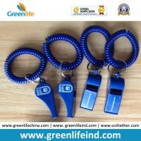 China Popular Sales Blue Plastic Wristband Coiled Holder w/Blue Custom Logo Imprinted Whistle on sale