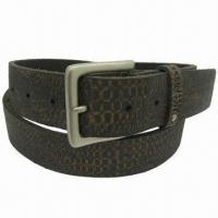 Cheap Distressed Leather Belt in Snake Design for sale