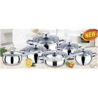 China 12 Piece SS 201 Apple Stainless Steel Cookware Sets with Body 0.45 mm on sale
