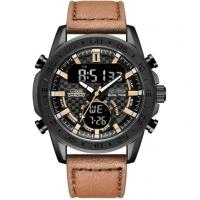 Cheap leather strap digital analog dual time men chronograph sports watch waterproof sports watch for sale