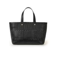 China Wow Nice Black Weave Tote Bag Emboss Knitting Pattern on Pu Succinct Italy Design Shoulder Handbag for Women Laptop Bags on sale