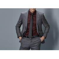 Cheap Cotton Formal Male Grey 2 Piece Suit Two Straight Pockets S--XXXL Size Regular Fit for sale