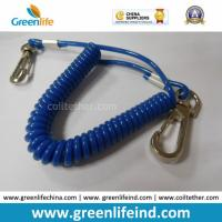 Cheap Solid Blue Plastic Elastic Spring Belt Coil Bungee Lanyard for sale