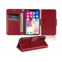 Cheap Wine Red 5.85 Inches Apple iphone Leather Case With Credit Card Pockets for sale