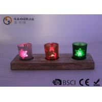 Quality glass candle holder with laser picture with wooden base and LED tealight wholesale
