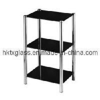 Cheap Bathroom Glass Shelf / Black Painted Tempered Glass for sale