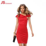 Cheap Pleated V Neck Short Elegant Office Dresses Pure Color Slim Pack Hip for sale