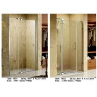 Cheap 3 Panels Straight Frameless Glass Shower Doors Hinge Opening Style With Adjustable Support Bar for sale