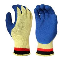 Cheap C2002 10 Gauge KEVLAR Seamless liner, with Blue Latex Palm and Thumb Coating, Crinkle Finished for sale