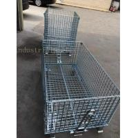 Cheap Customized Galvanized Collapsible Wire Cage Conveyable With Casters 6mm Thickness for sale
