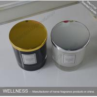 China Clean Burning Natural Soy Wax Candles , Gold Lid Black Glass Candle Jars on sale