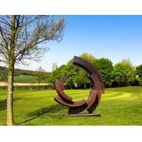 Cheap Rusty Round Circle Shape Corten Steel Statue As Outdoor Lawn Ornament for sale