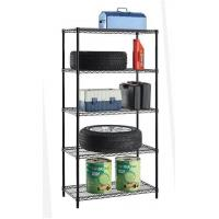 Cheap 5 Tiers Black Epoxy Coated Adjutable Steel NSF Wire Shelving for Sundries & Garage Storage for sale