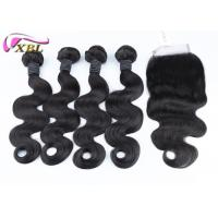 Cheap 8-38 Inch Human Hair Extensions With Lace Closure Bundles Deal For A Full Head for sale