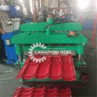 China W1000mm Steel Roof PLC Glazed Tile Roll Forming Machine on sale